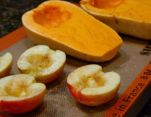 cut butternut squash with apples